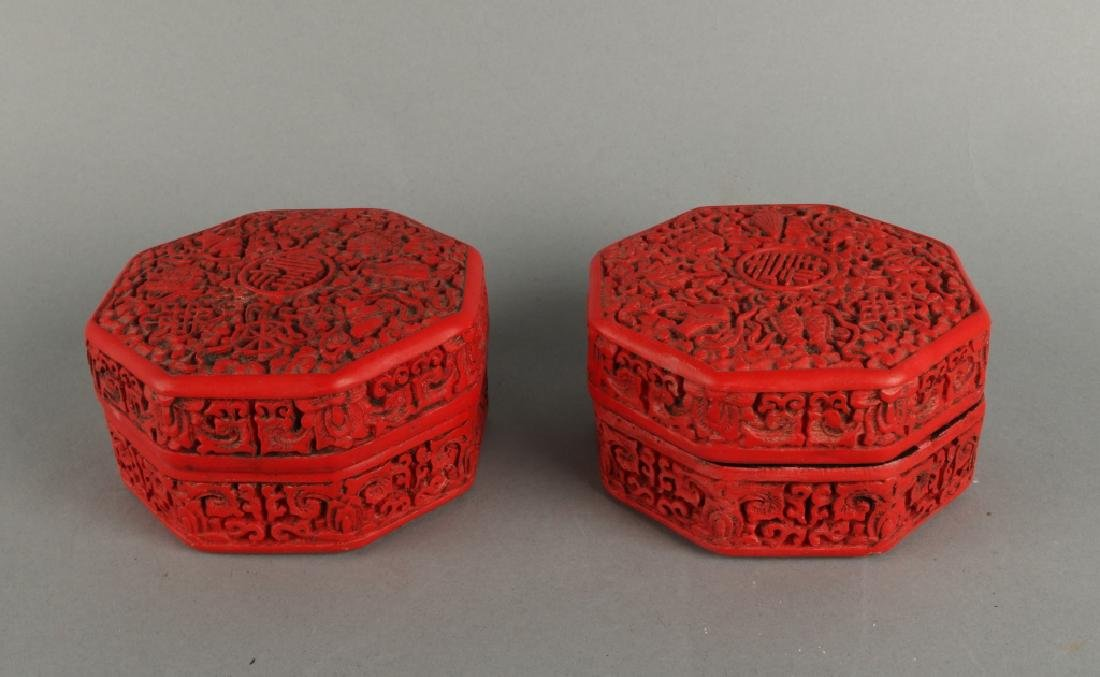 Pair of Red Lacquer Box