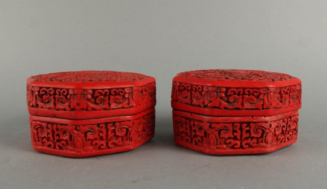 Pair of Red Lacquer Box - 4