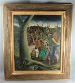 Slaves Uprising Haitian Painting 1950, Signed.