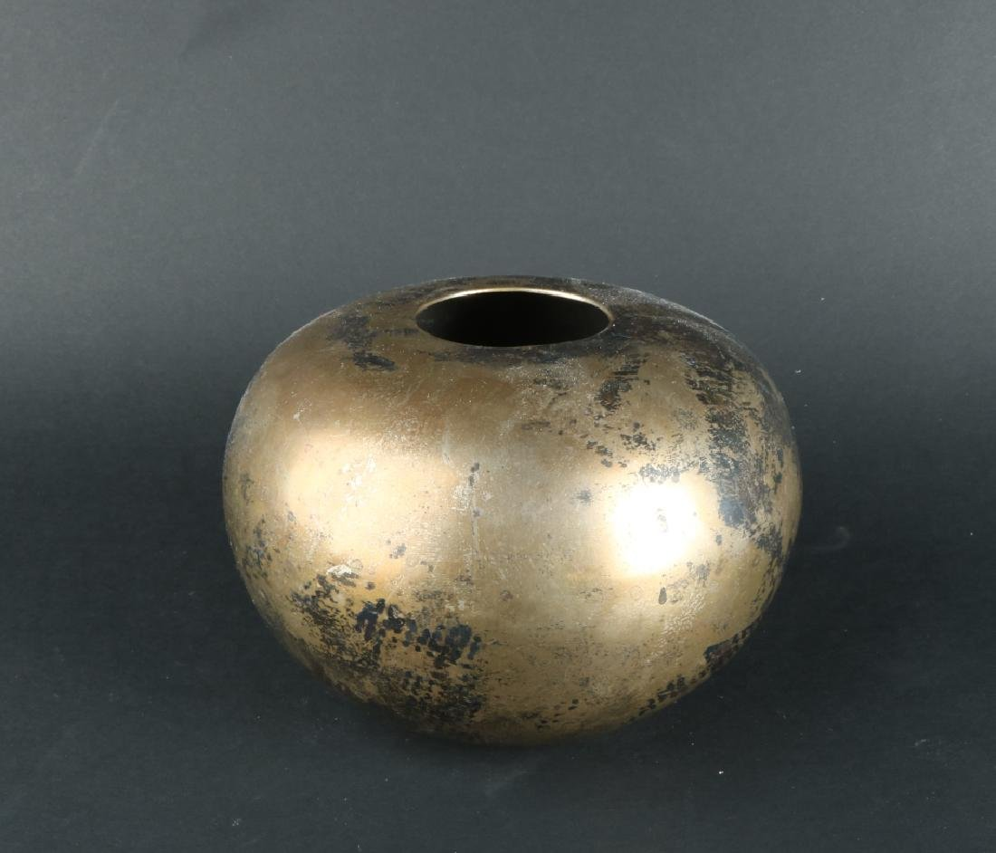 Round Japanese Brass Vase