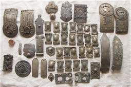 Lot Antique Caucasus niello silver parts of buckles