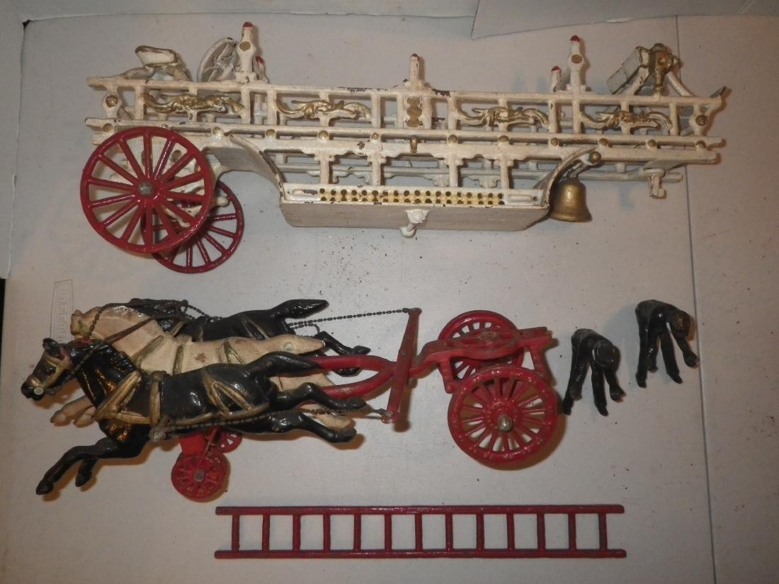 Cast Iron Horse Drawn F.D. Fire Truck Hook & Ladder - 10