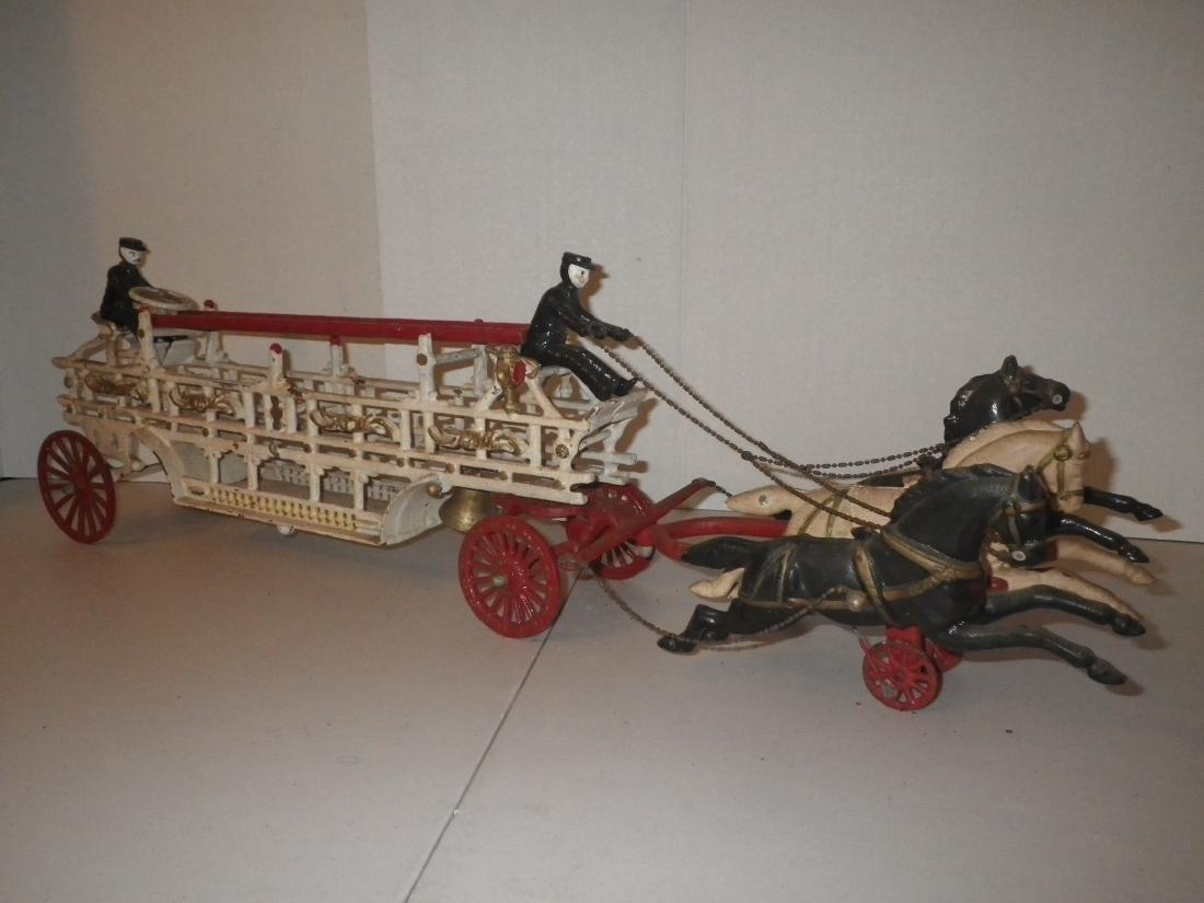 Cast Iron Horse Drawn F.D. Fire Truck Hook & Ladder
