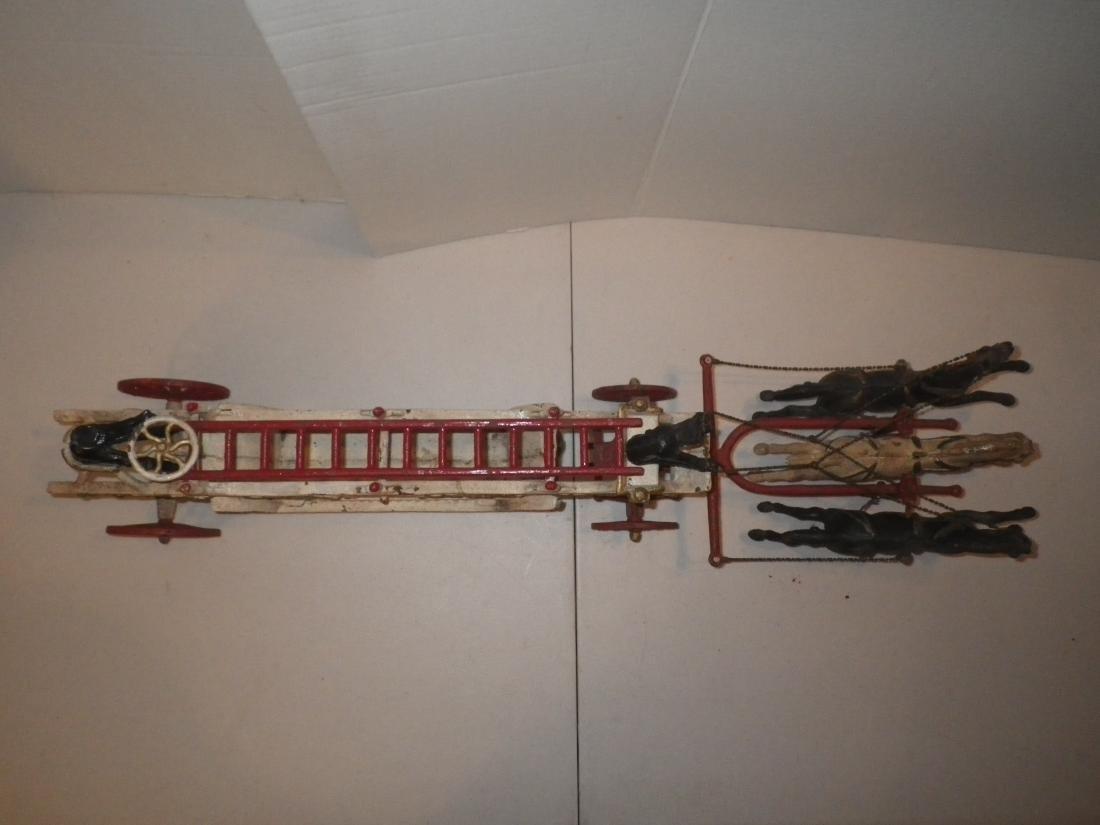 Cast Iron Horse Drawn F.D. Fire Truck Hook & Ladder - 3