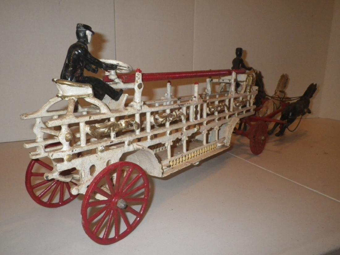 Cast Iron Horse Drawn F.D. Fire Truck Hook & Ladder - 4