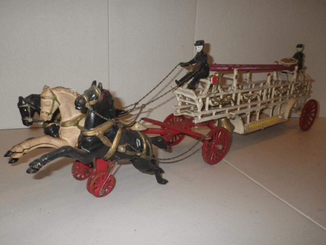 Cast Iron Horse Drawn F.D. Fire Truck Hook & Ladder - 5