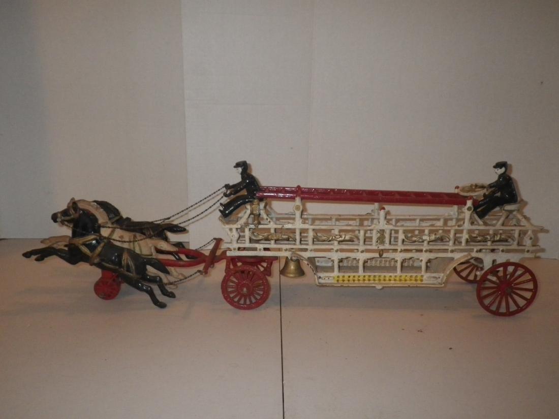 Cast Iron Horse Drawn F.D. Fire Truck Hook & Ladder - 6