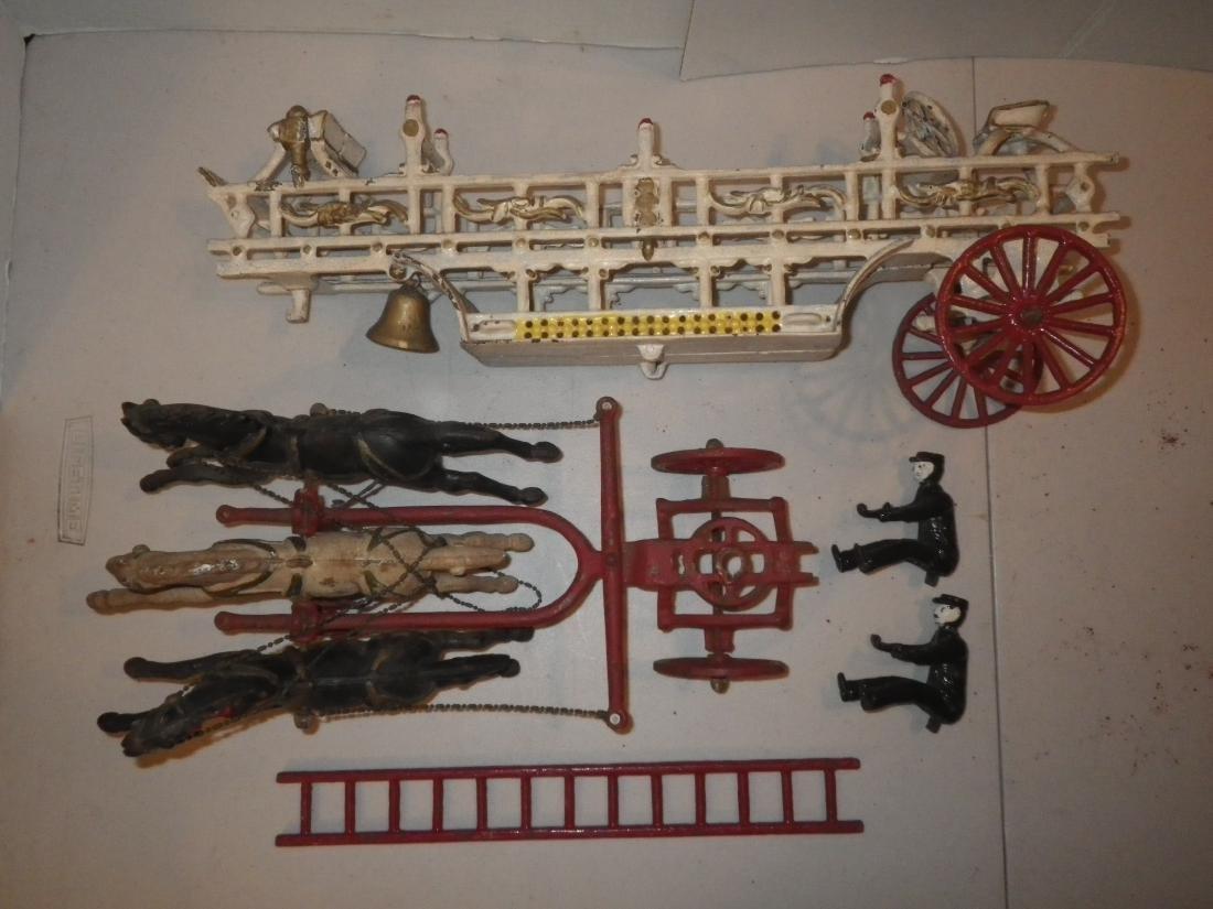 Cast Iron Horse Drawn F.D. Fire Truck Hook & Ladder - 8