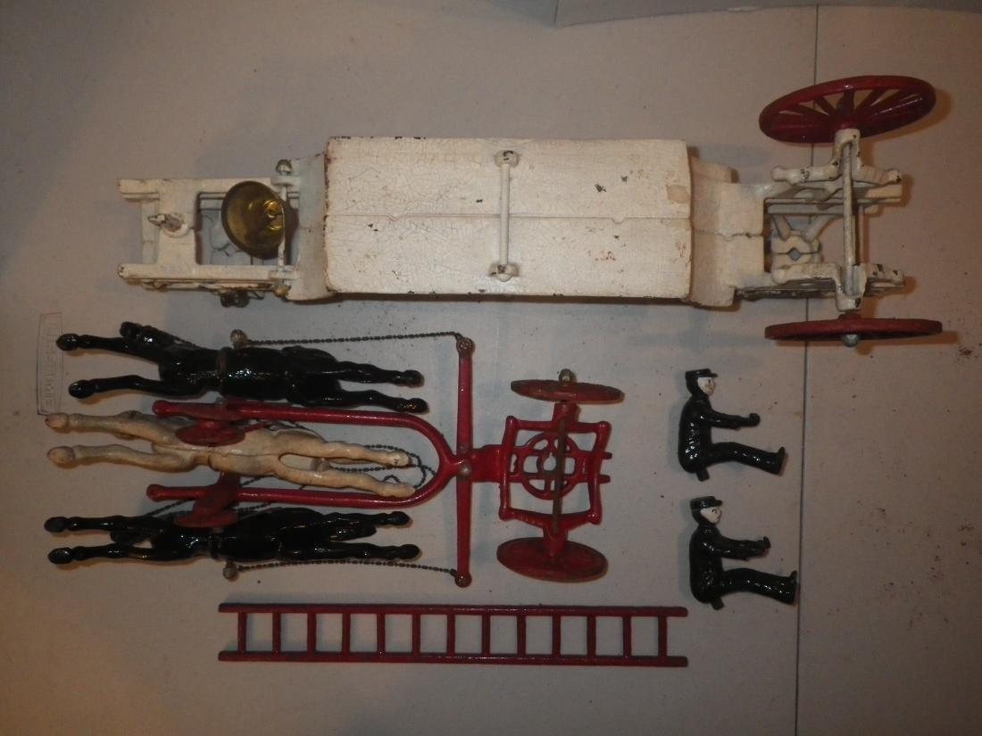 Cast Iron Horse Drawn F.D. Fire Truck Hook & Ladder - 9