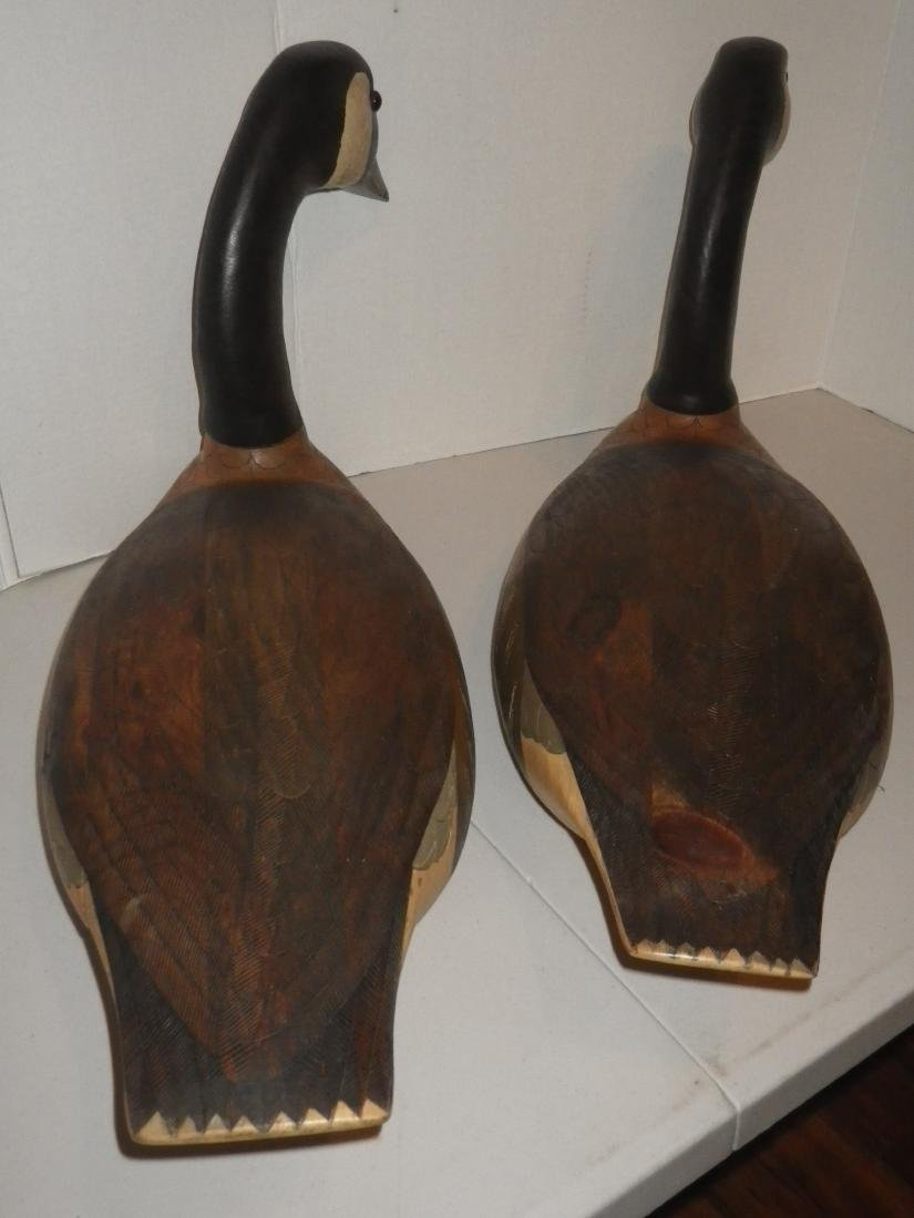 Signed & Dated Wood Carved Geese (goose) Decoy Art - R. - 10