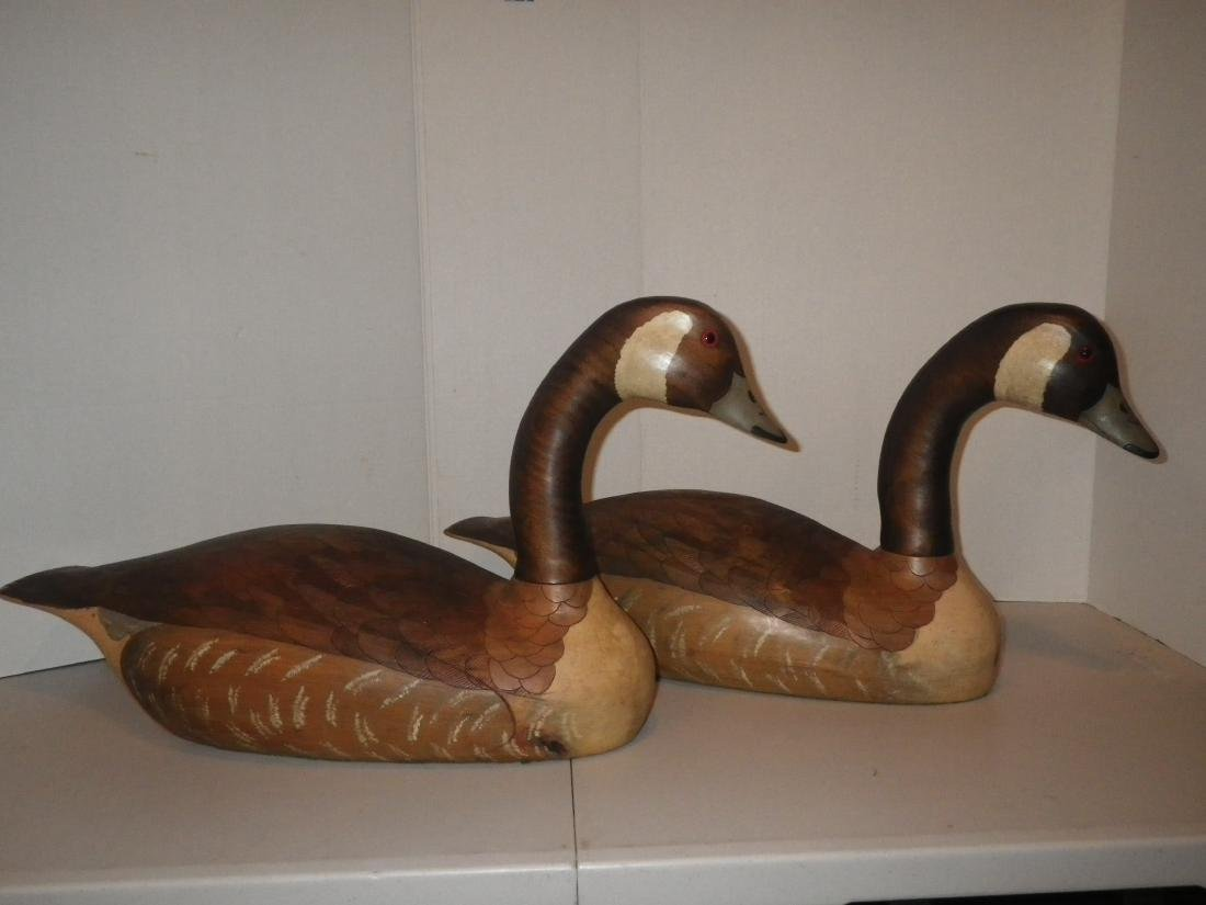 Signed & Dated Wood Carved Geese (goose) Decoy Art - R.
