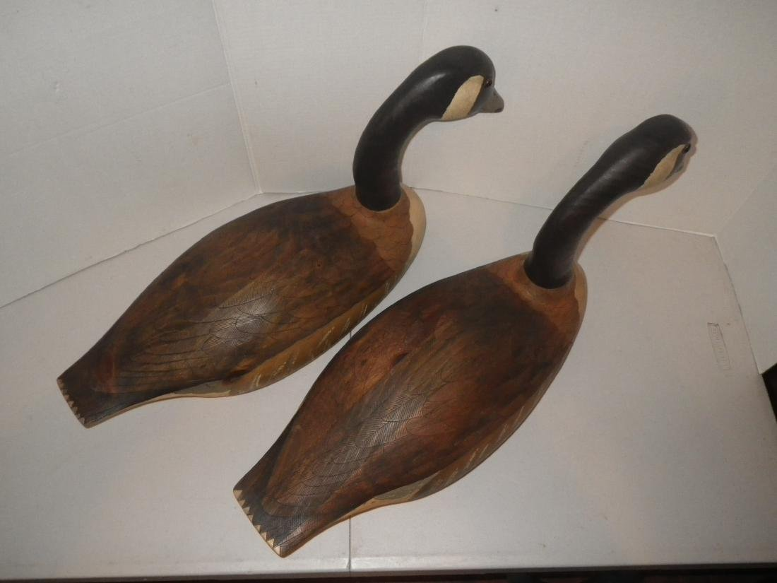 Signed & Dated Wood Carved Geese (goose) Decoy Art - R. - 4