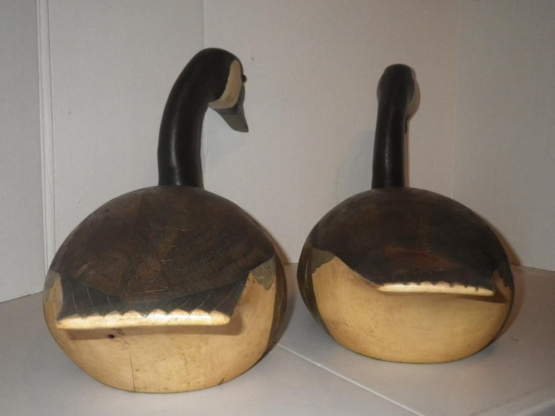 Signed & Dated Wood Carved Geese (goose) Decoy Art - R. - 9