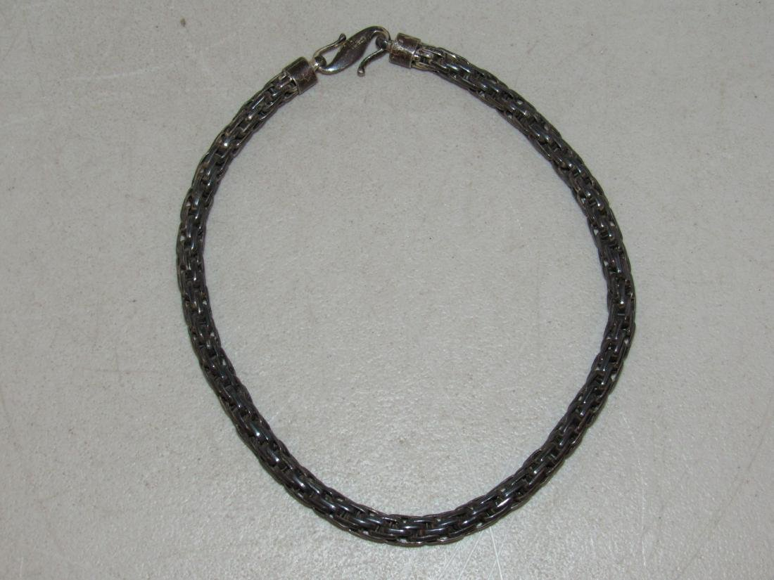Vintage Sterling Silver Woven Rope Choker Collar