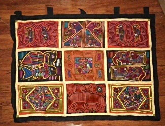 Hand-Made Kuna Indian Textile Art Molas Banner