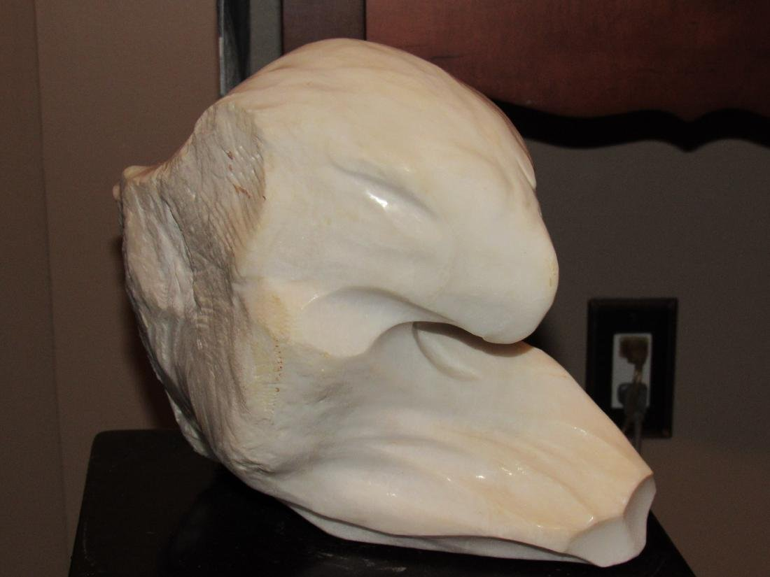 Stone Marble Sculpture - White Eagle Head - T. Anderson - 3