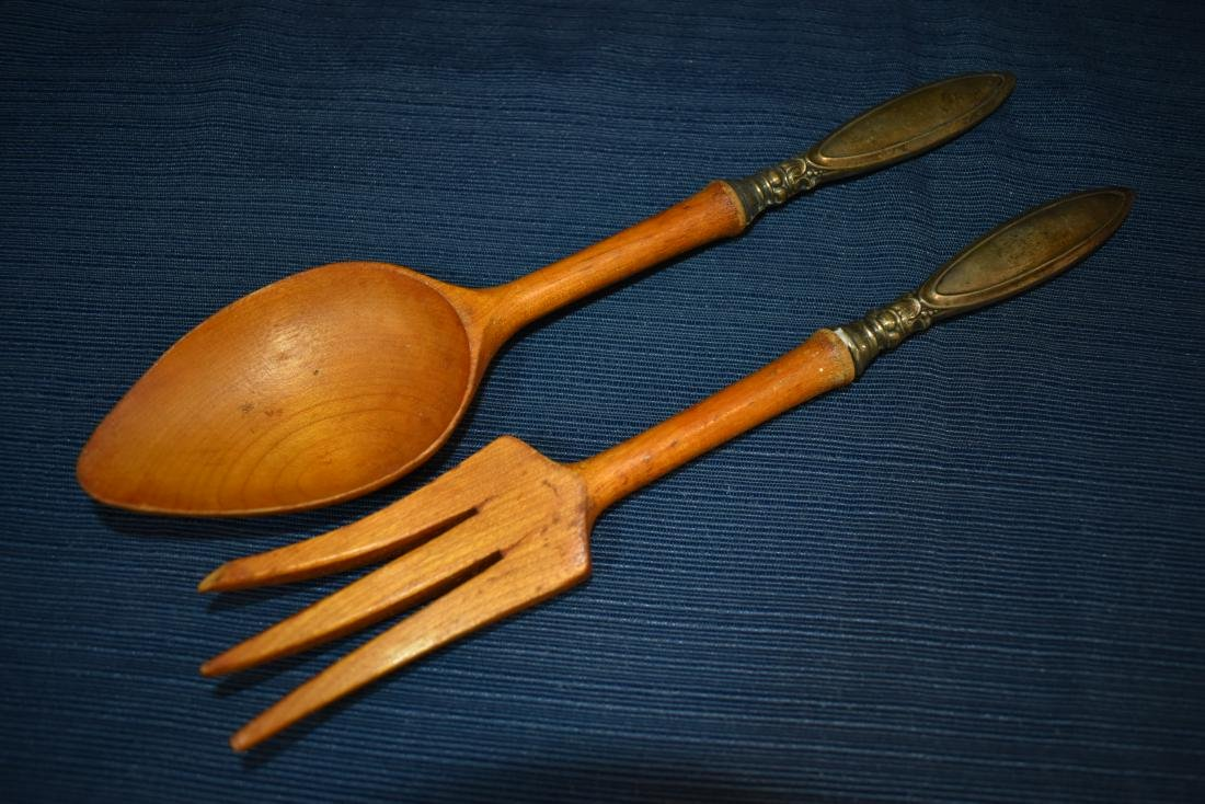Wood & Sterling Salad Fork & Spoon Set