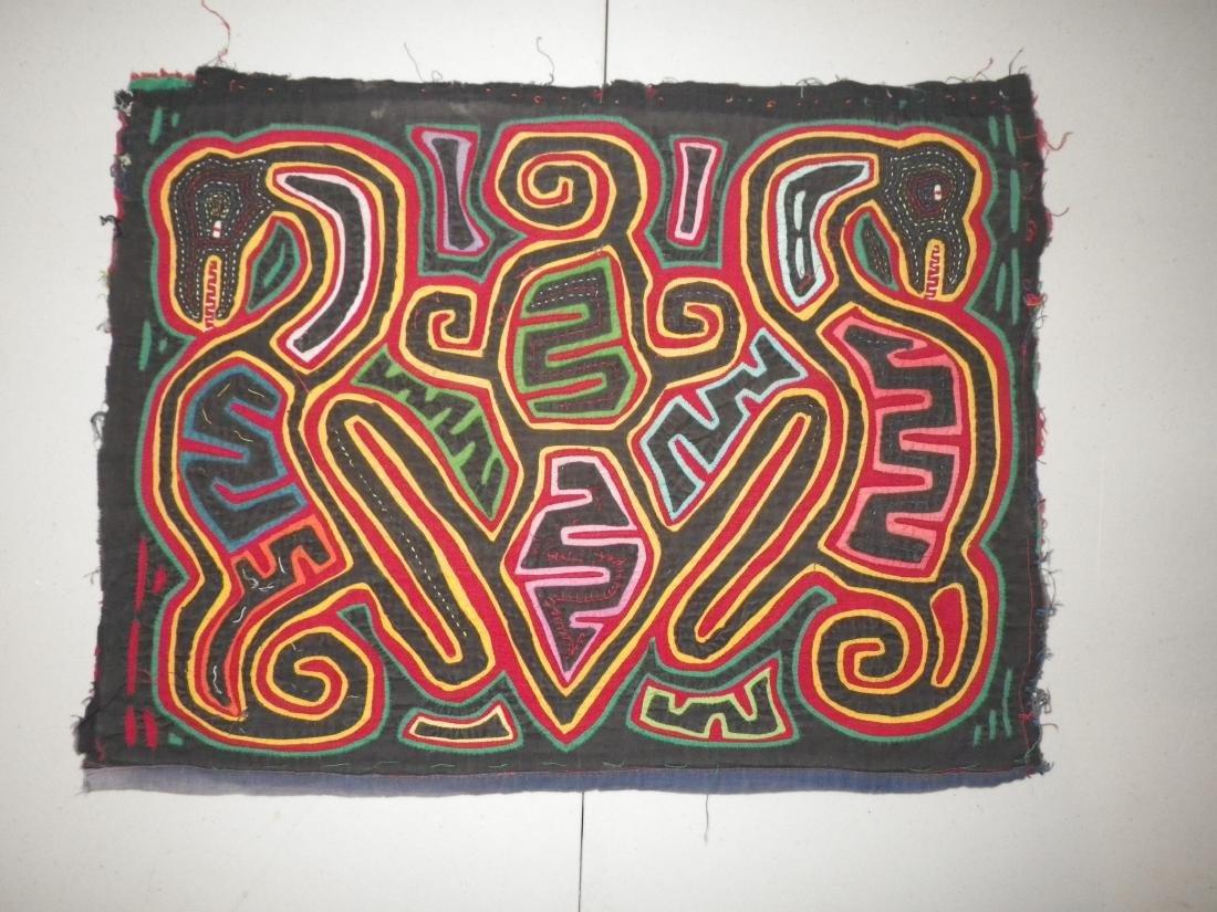 Snake - Black & Colorful Native American Mola