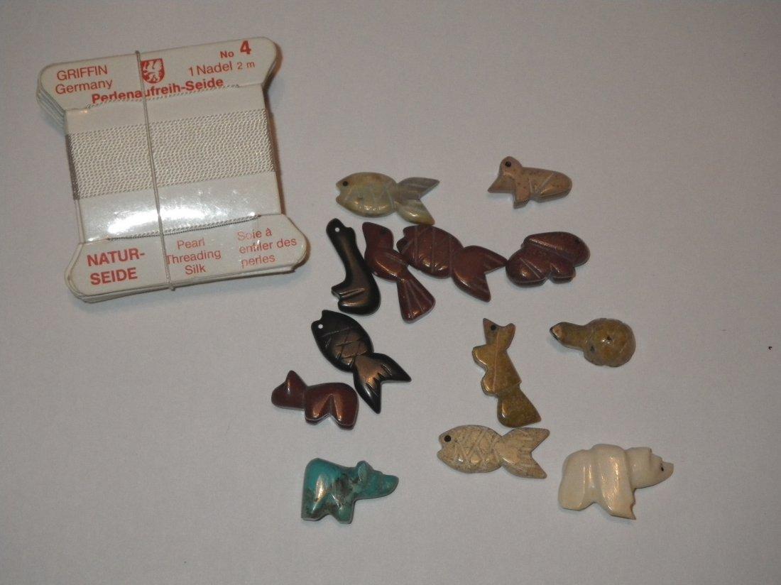 Zuni Fetish 13 Pieces & 10 Packs Silk Thread