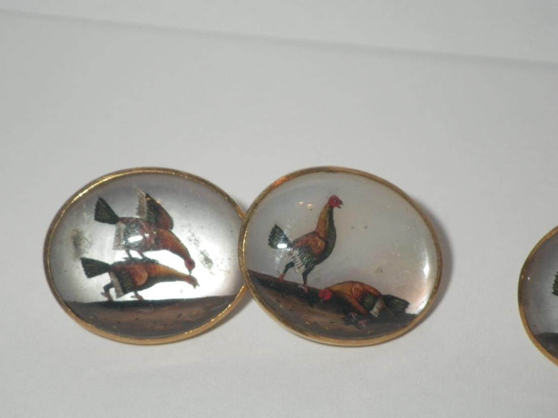 Vintage Rooster Cock Fighting Cufflinks (18k gold?) - 2