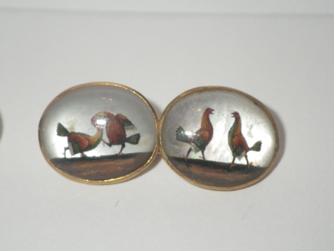 Vintage Rooster Cock Fighting Cufflinks (18k gold?) - 3