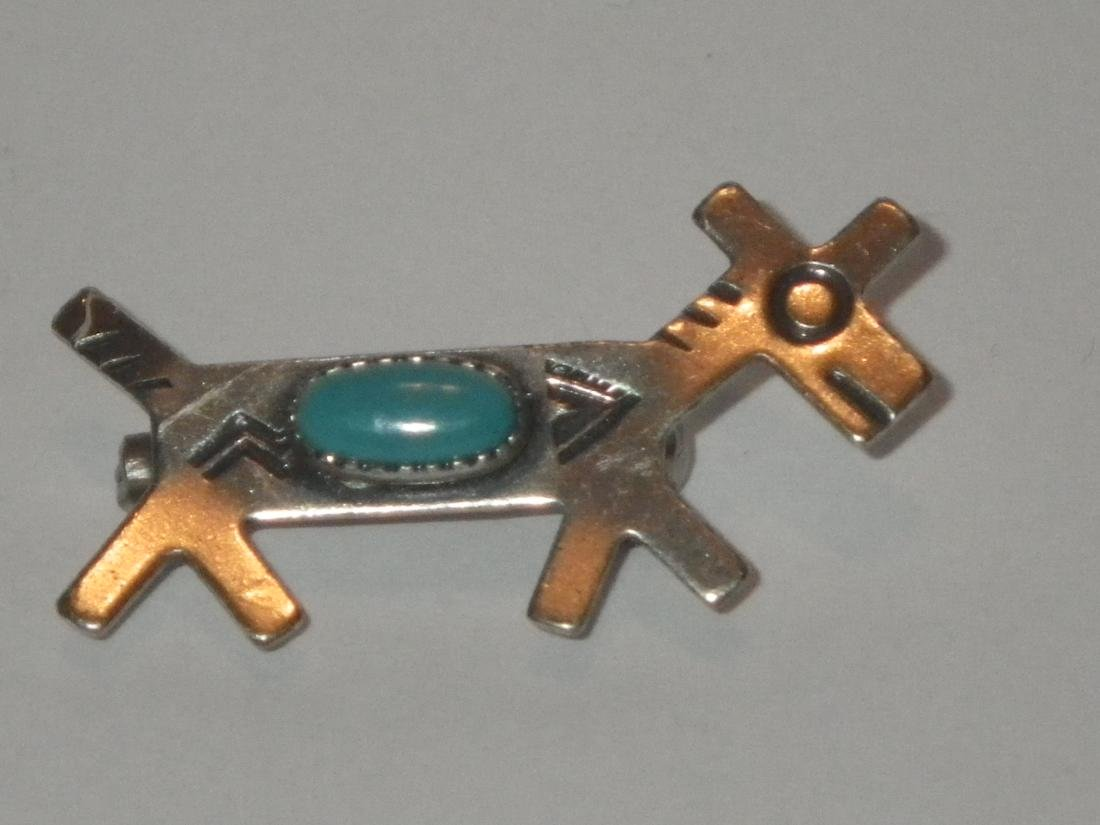 Sterling Silver and Stone Deer southwest pin