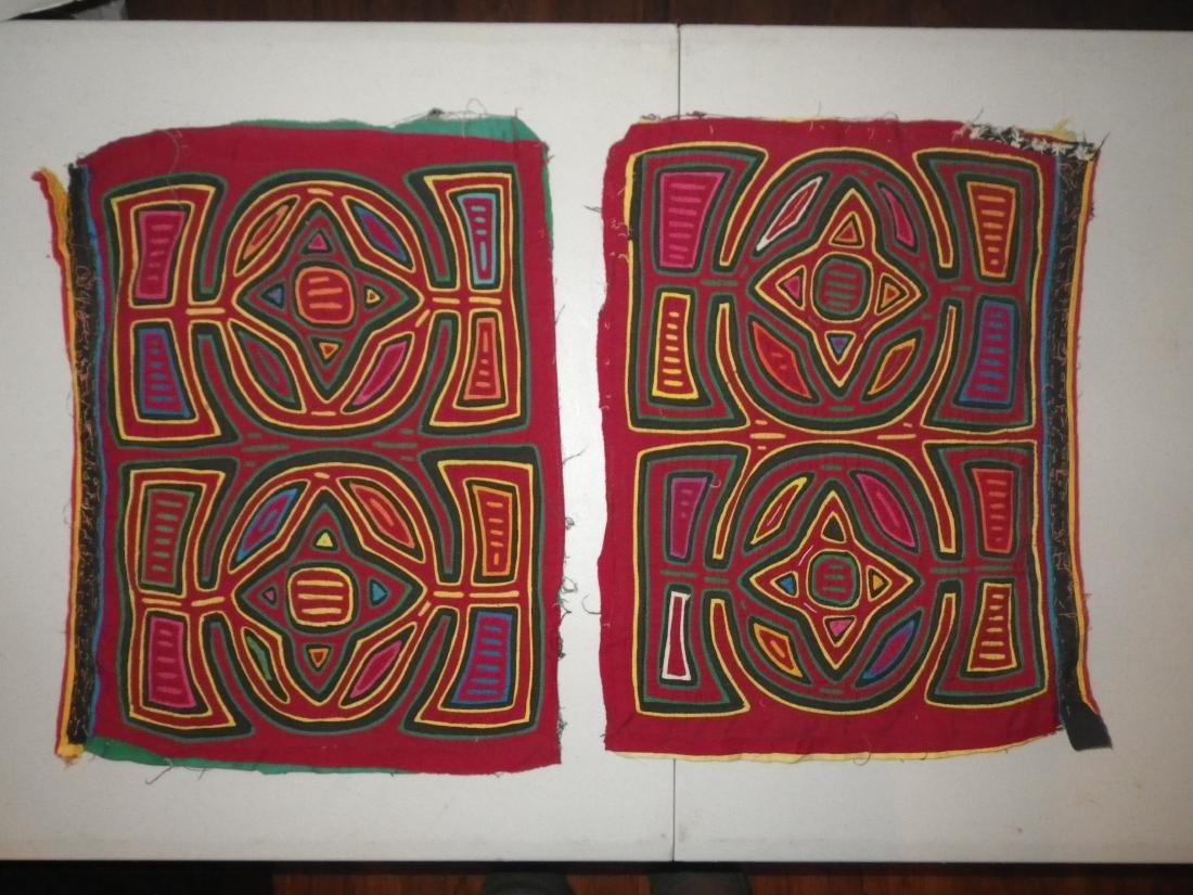 Two (2) Totem Native American Mola Panels