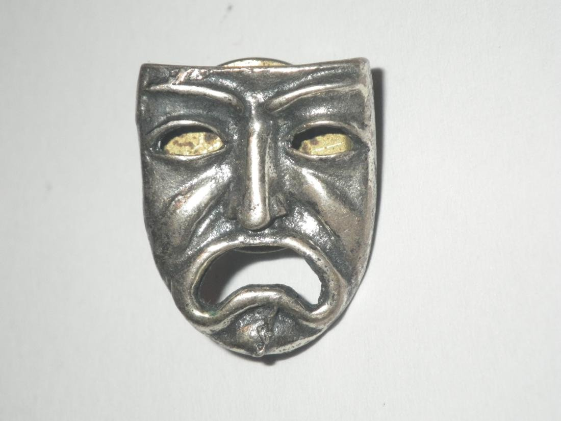 Vintage Sterling Silver Drama Mask Lapel Pin