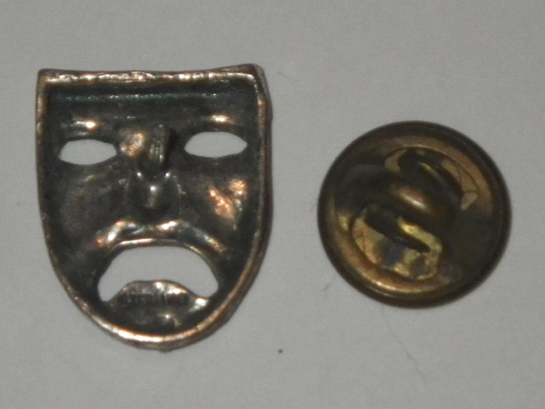 Vintage Sterling Silver Drama Mask Lapel Pin - 3
