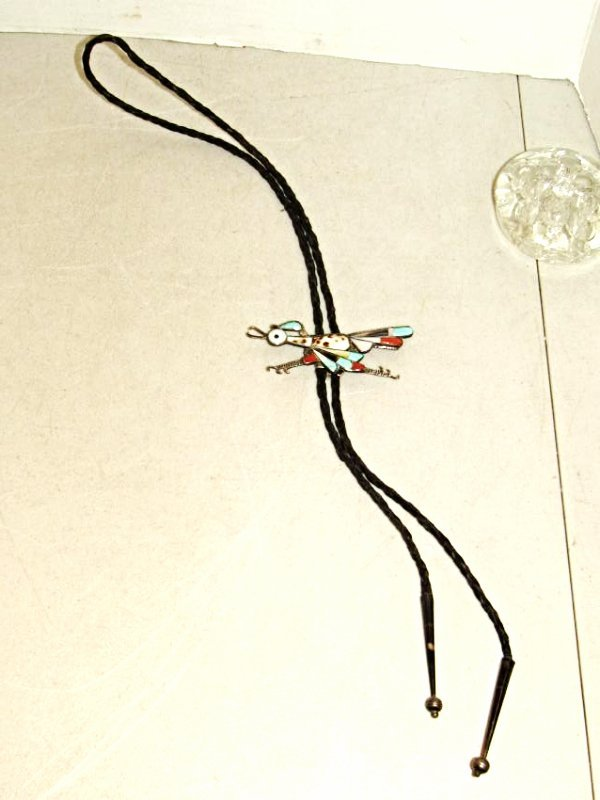 Roadrunner Metal and Stone Leather Bolo