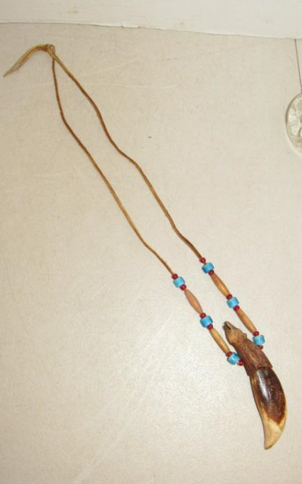 Carved Bear Tooth with Beads Necklace