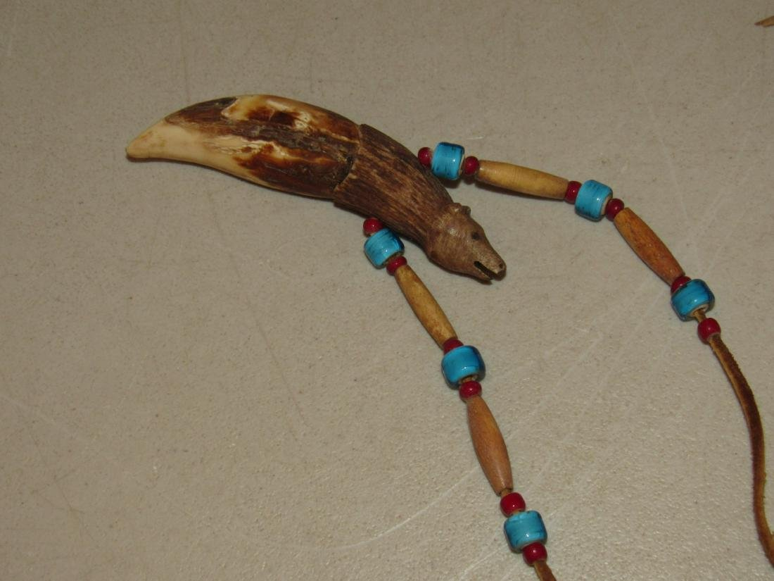 Carved Bear Tooth with Beads Necklace - 4