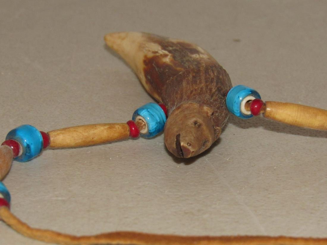 Carved Bear Tooth with Beads Necklace - 5