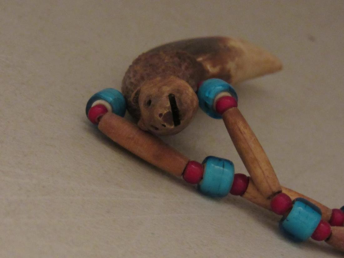 Carved Bear Tooth with Beads Necklace - 7