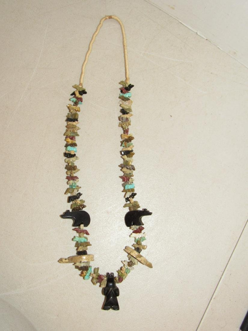 Fetish Stone Bead Necklace - Bears, Turtles, Birds