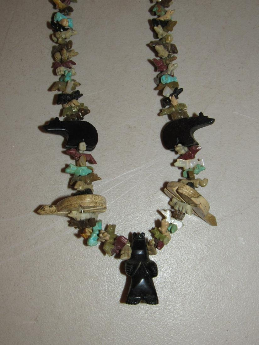 Fetish Stone Bead Necklace - Bears, Turtles, Birds - 2
