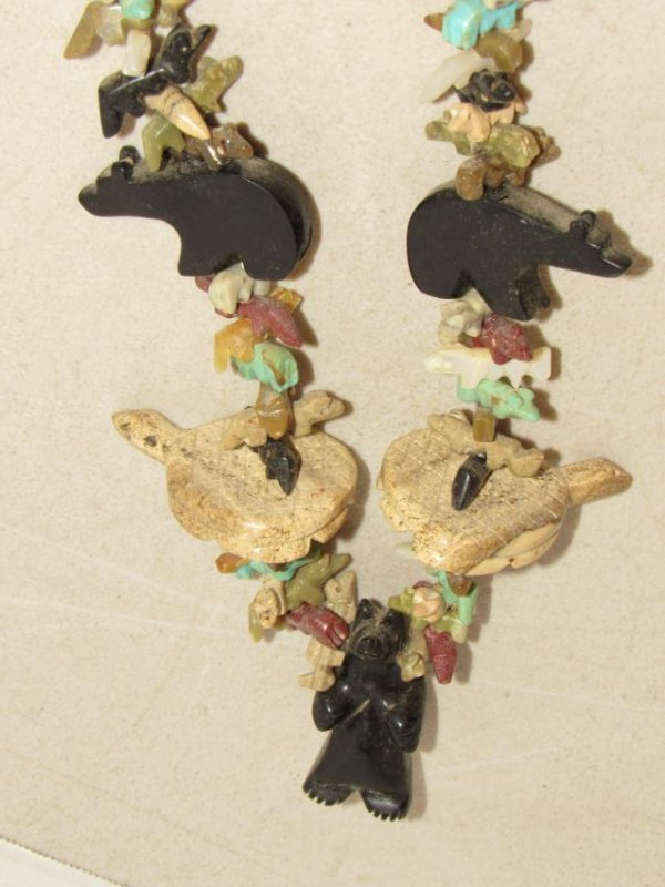 Fetish Stone Bead Necklace - Bears, Turtles, Birds - 6