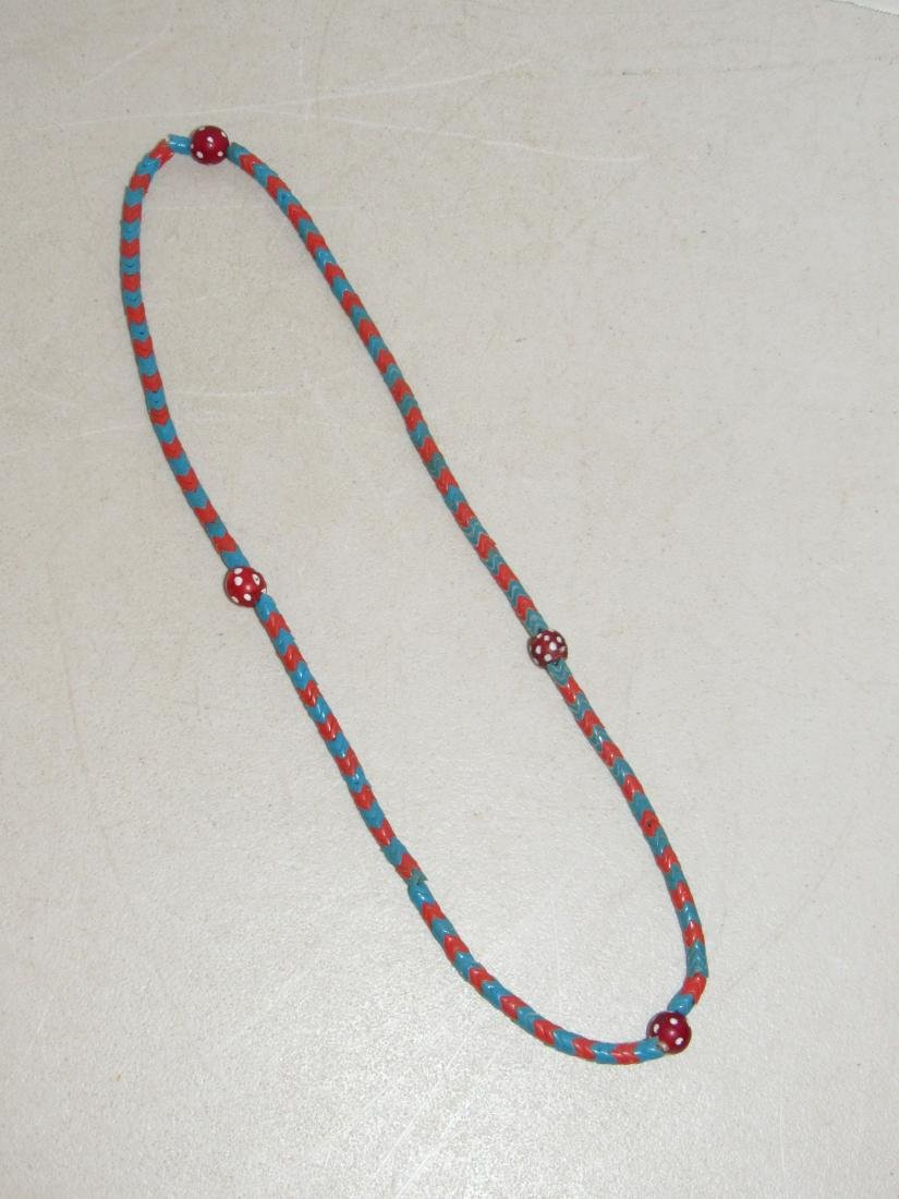 """Blue & Red """"V"""" Shaped Beaded Necklace - Native American"""