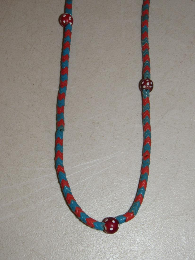"""Blue & Red """"V"""" Shaped Beaded Necklace - Native American - 2"""