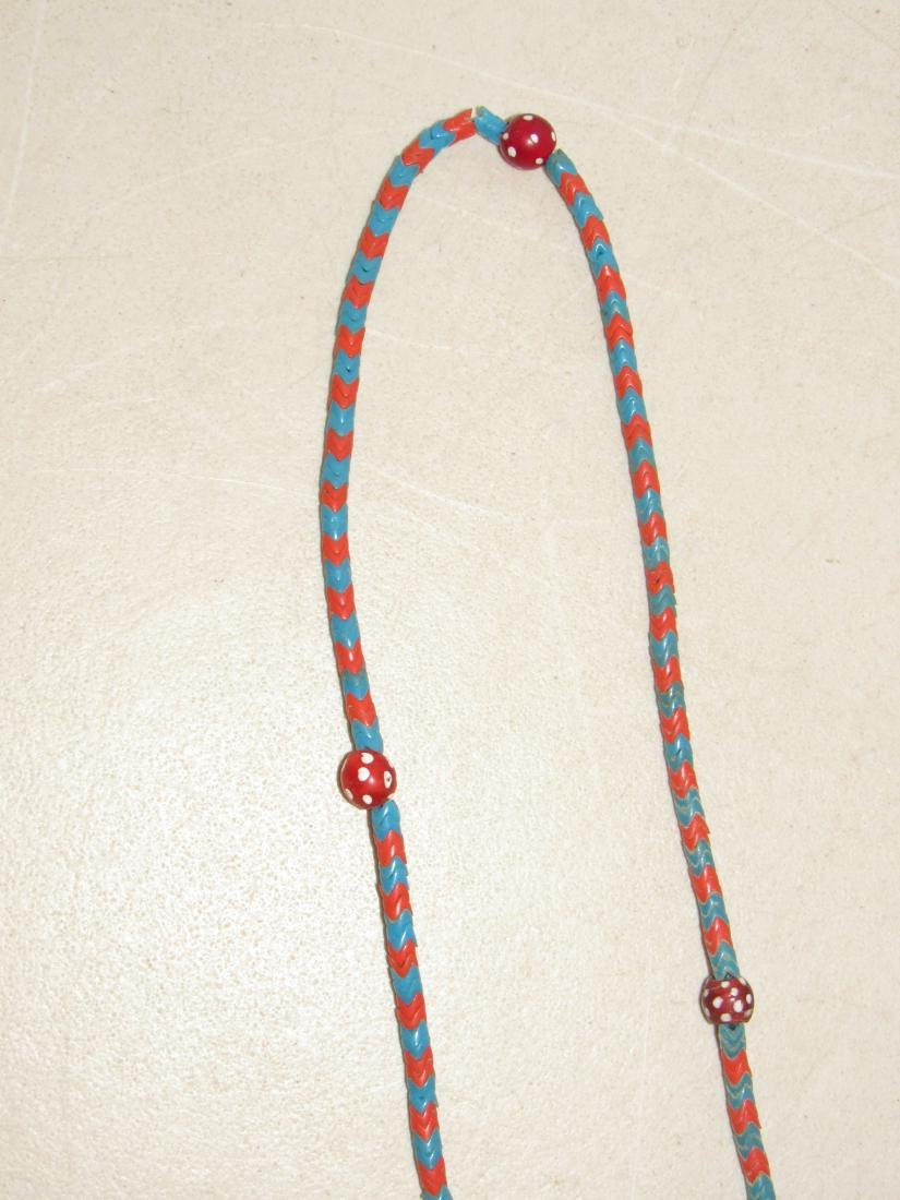 """Blue & Red """"V"""" Shaped Beaded Necklace - Native American - 3"""
