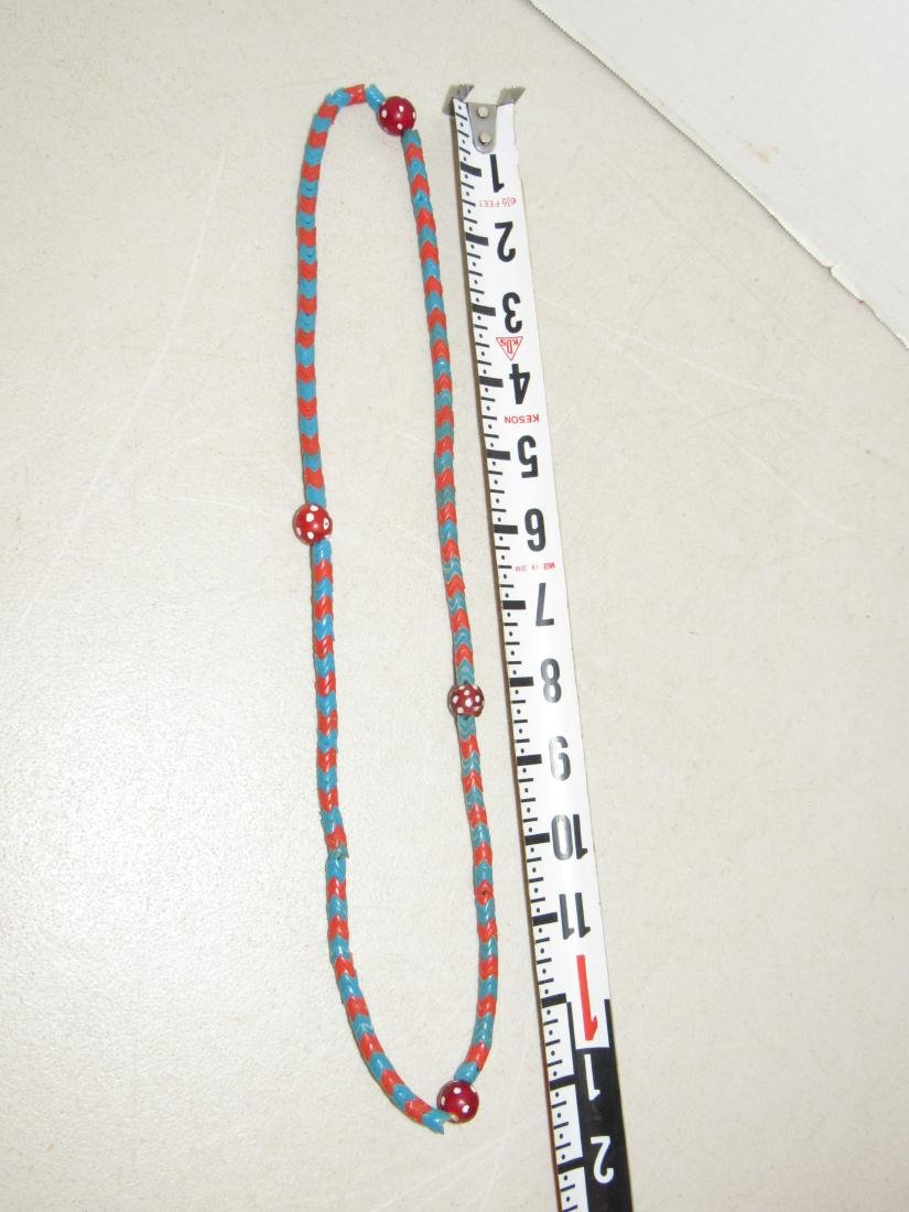 """Blue & Red """"V"""" Shaped Beaded Necklace - Native American - 4"""