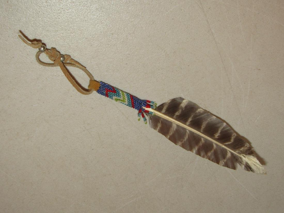 Feather with Native American beaded wrap fob regalia - 2