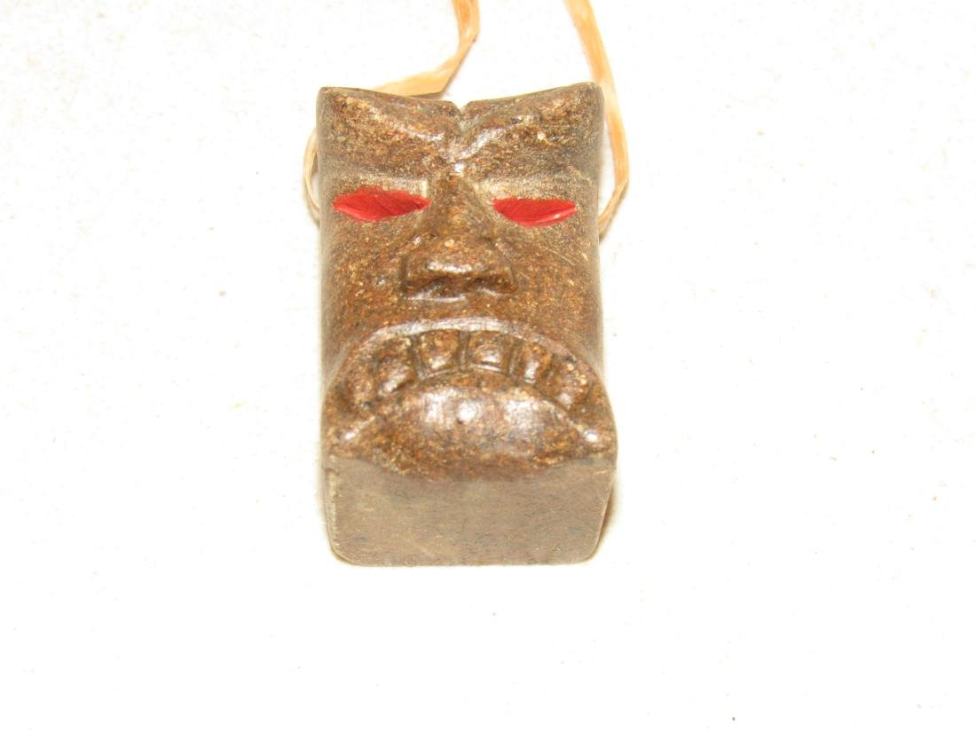Signed JW II Carved Brown Stone Guardian Totem charm - 3