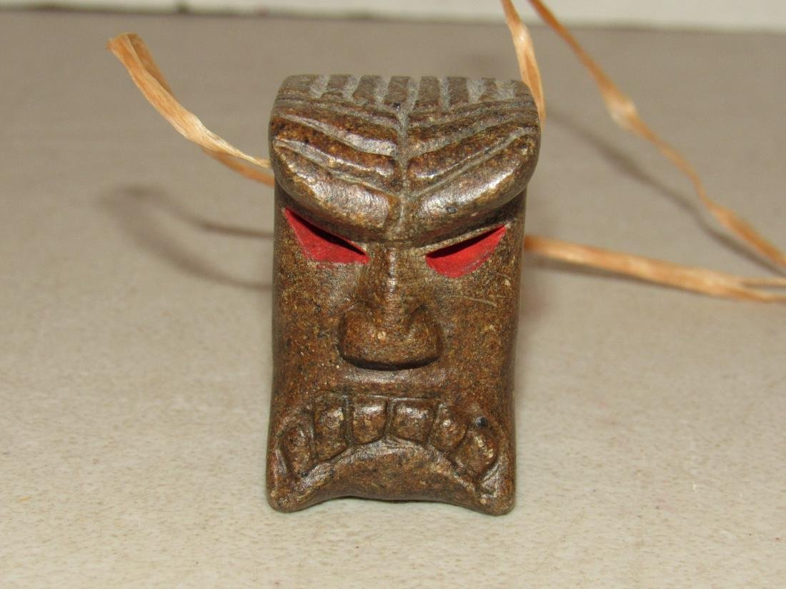 Signed JW II Carved Brown Stone Guardian Totem charm - 8