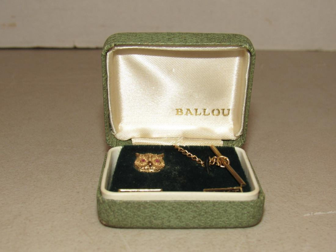Vintage Ballou 14k Gold Owl with Ruby Eyes Tie Tack - 2