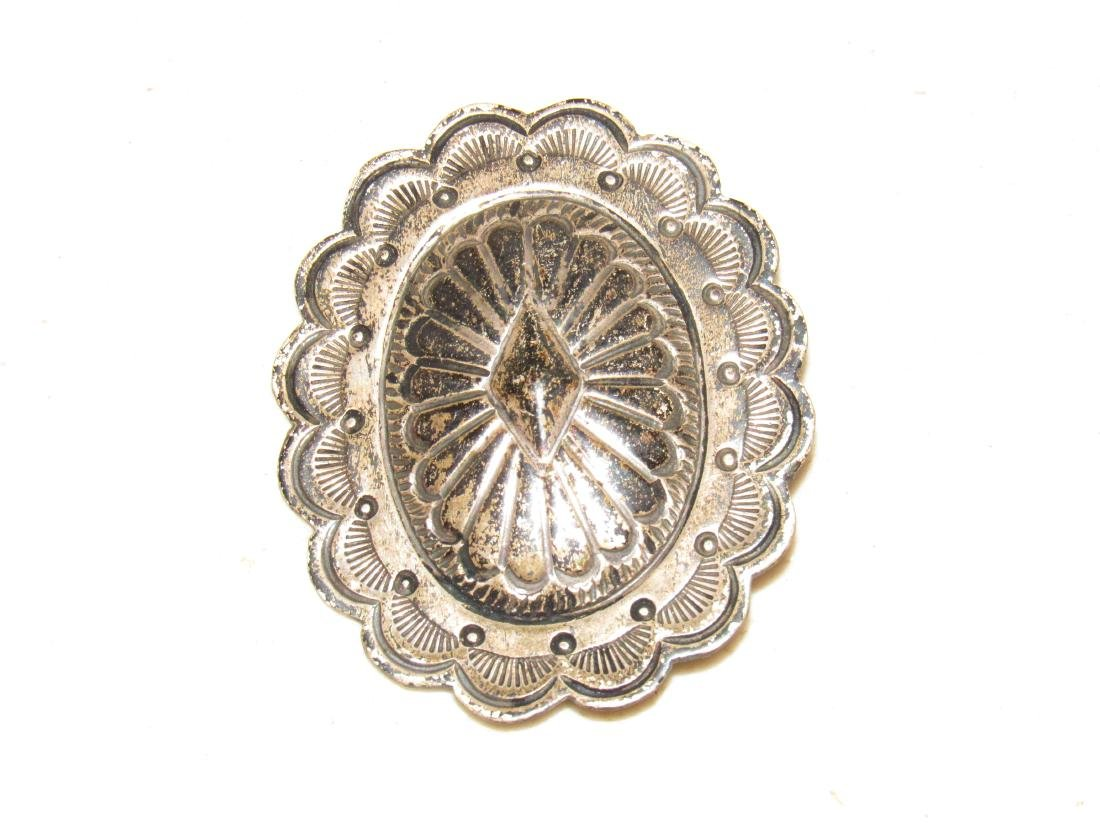 Antique Sterling Silver Brooch Pin Pendant Oval Shield