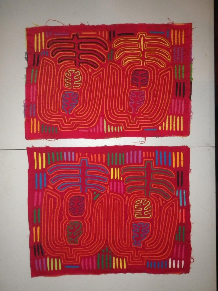 Two (2) Red Native American Molas