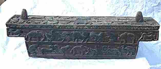 Antique Hand-Carved Wood Palungan Storage Chest