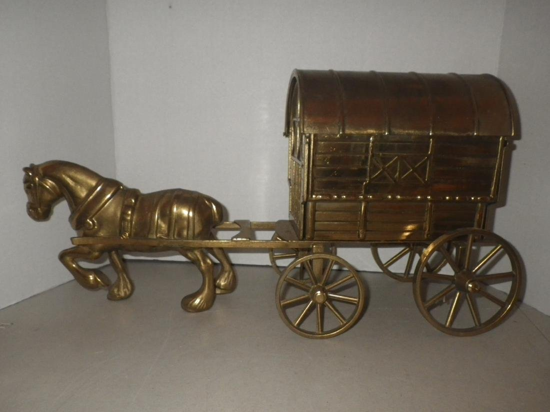 "Brass Horse & Covered Wagon - 20"" long - Made in Italy"