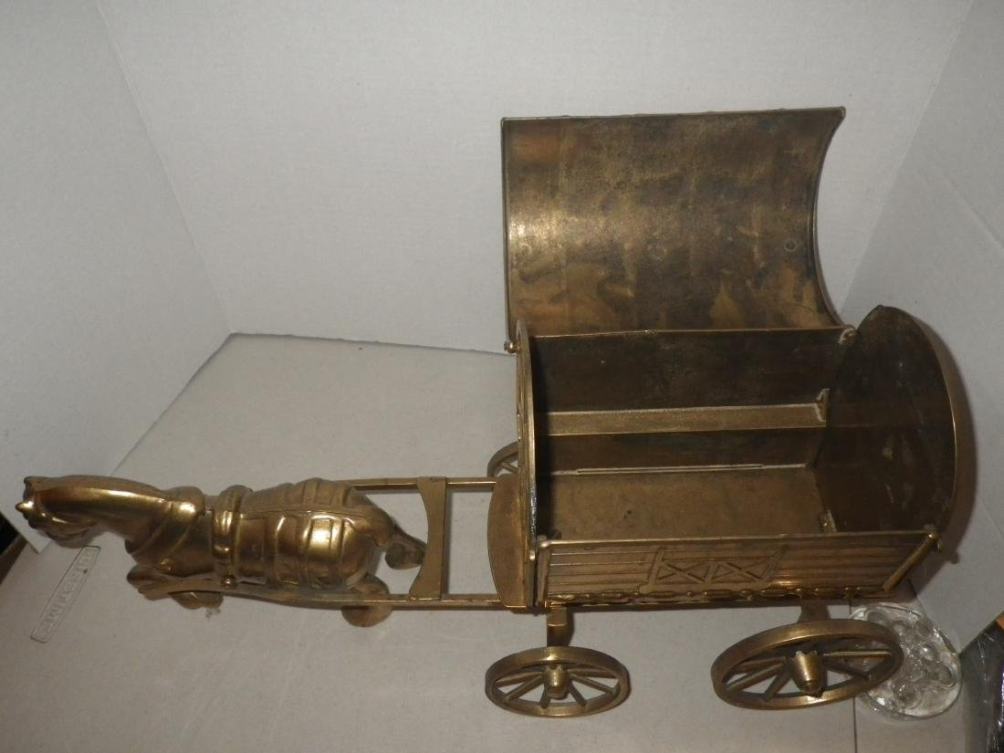 """Brass Horse & Covered Wagon - 20"""" long - Made in Italy - 2"""